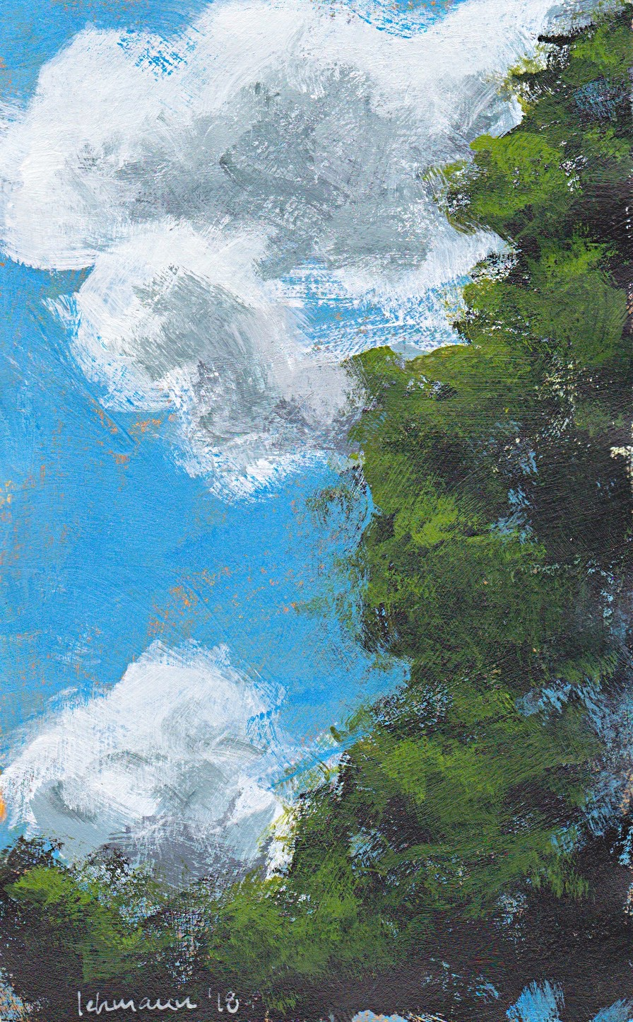 Minimalist art semi abstract landscape acrylic on paper Denmark Hreskoven