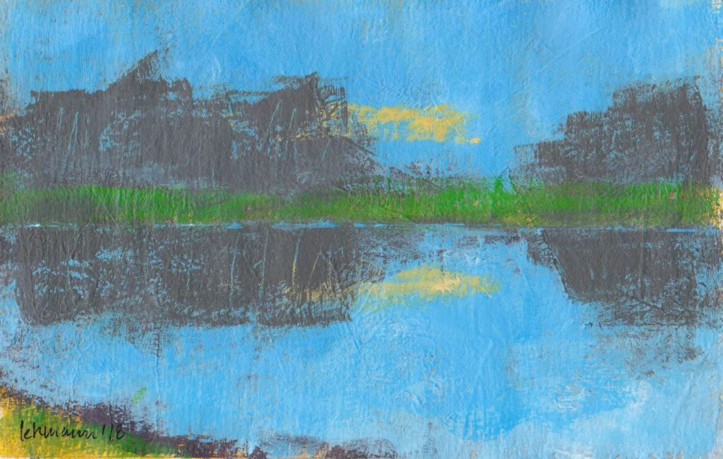 Minimalist painting abstract landscape acrylic Arches paper Denmark evening sky reflected in pond summer
