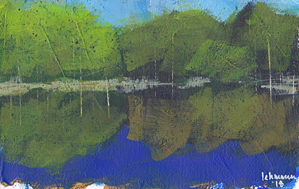 Minimalist painting abstract landscape acrylic Arches paper Denmark forest lake spring