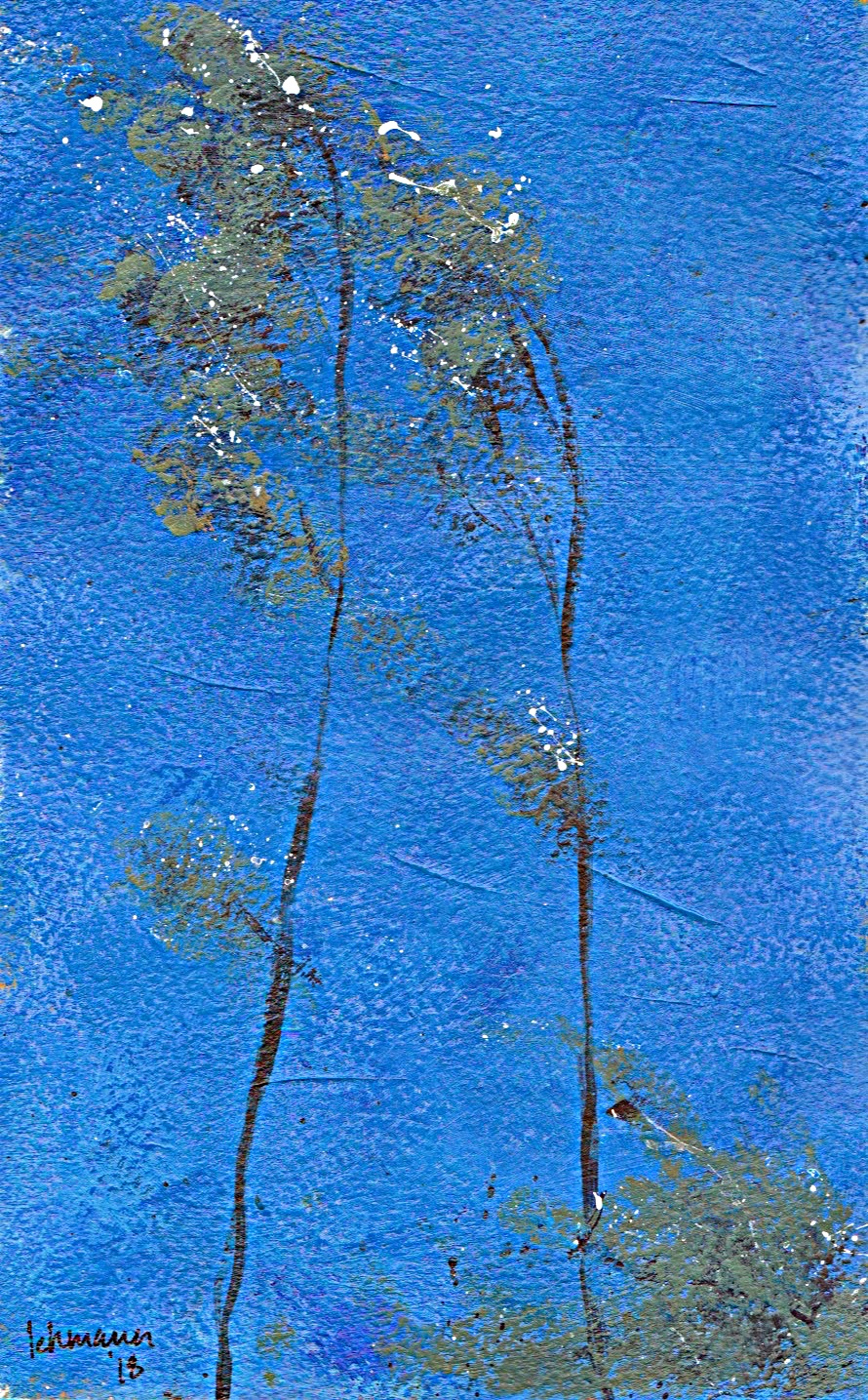 Minimalist painting abstract landscape acrylic Arches paper Denmark slender birches