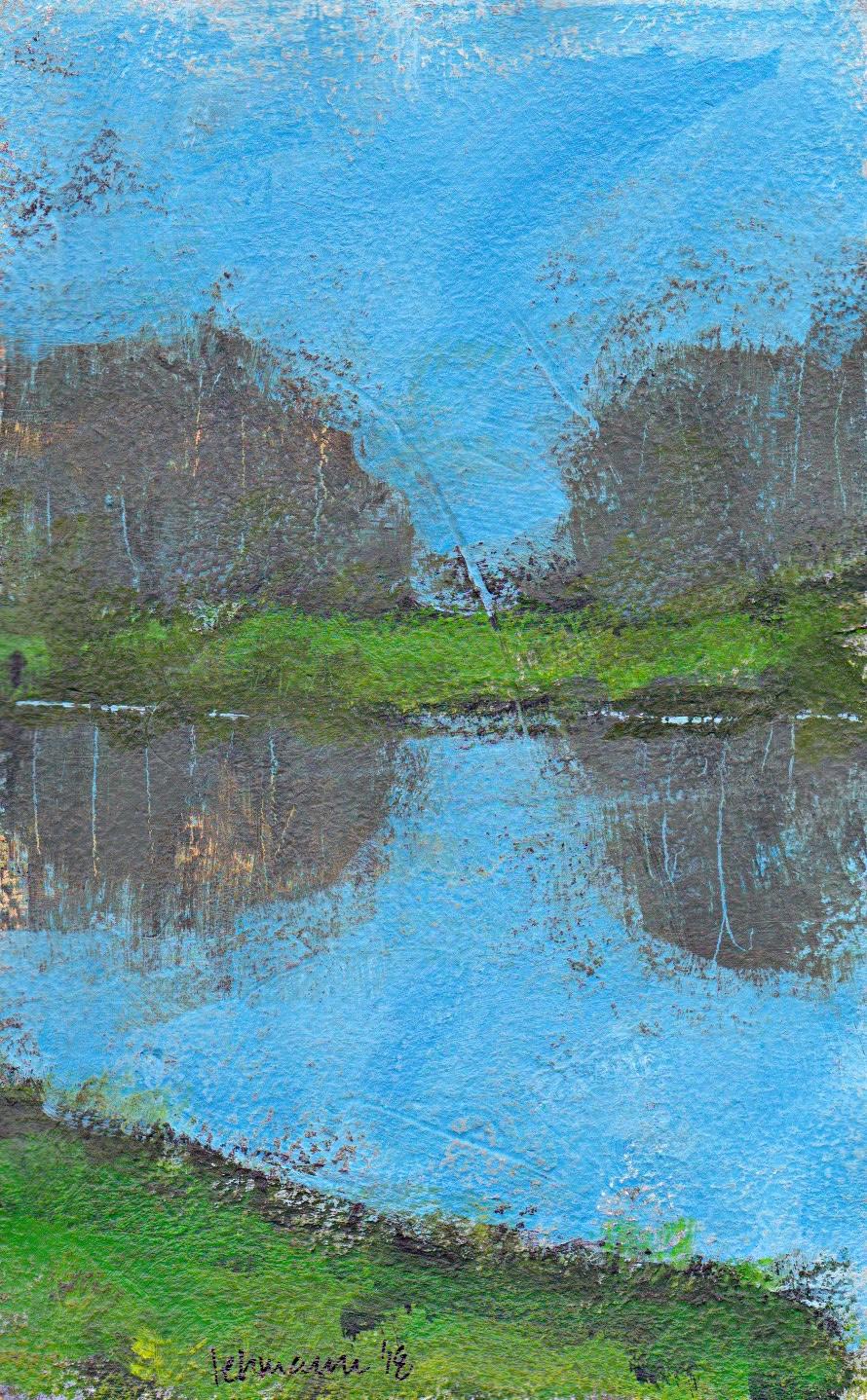 minimalist landscape painting acrylic on paper Hareskoven Denmark