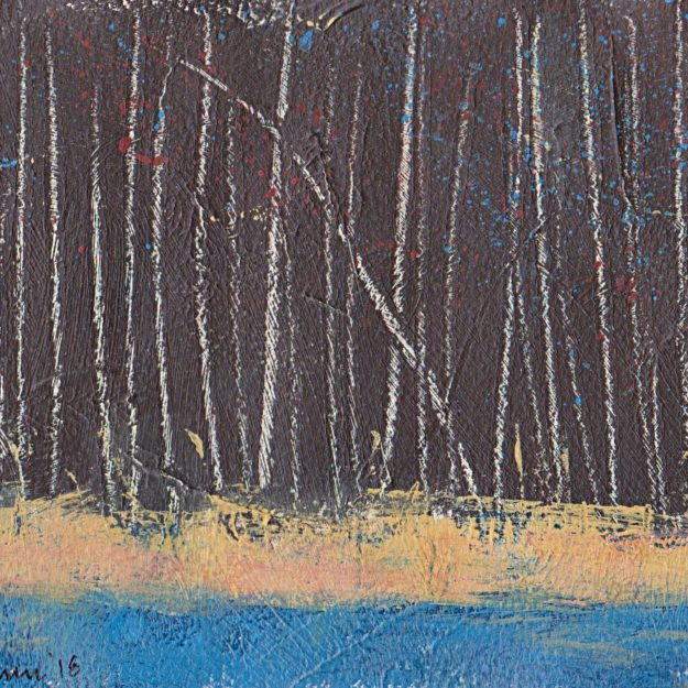Minimalist painting abstract landscape acrylic Arches paper Denmark birches autumn