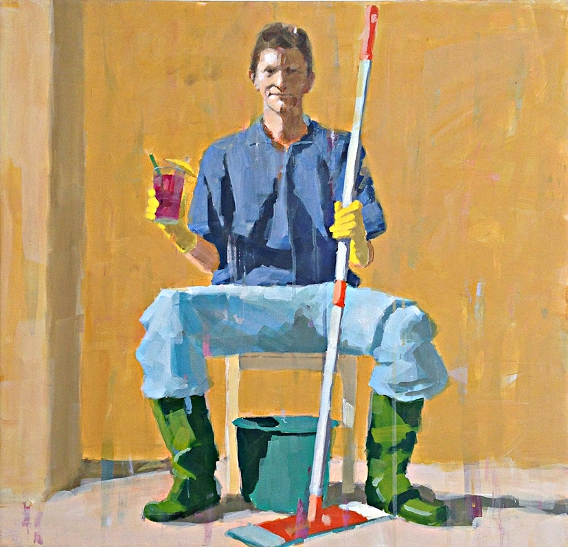 colorful self portrait acrylic Per Lehmann